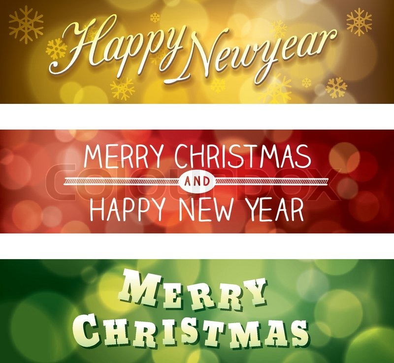 800x737 Merry Christmas And Happy New Year Vector Bokeh Background Banner