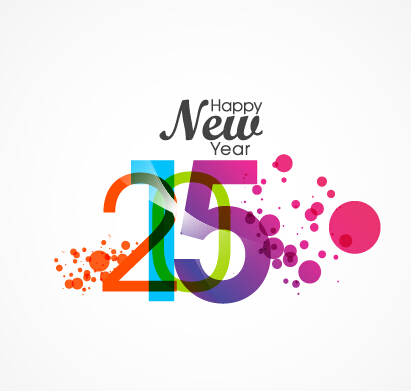 411x391 Watercolor 2015 Happy New Year Vector Free Download