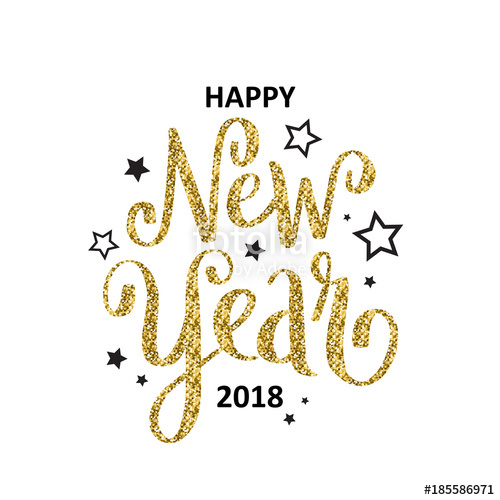 500x500 Happy New Year 2018 Hand Lettered Card Stock Image And Royalty