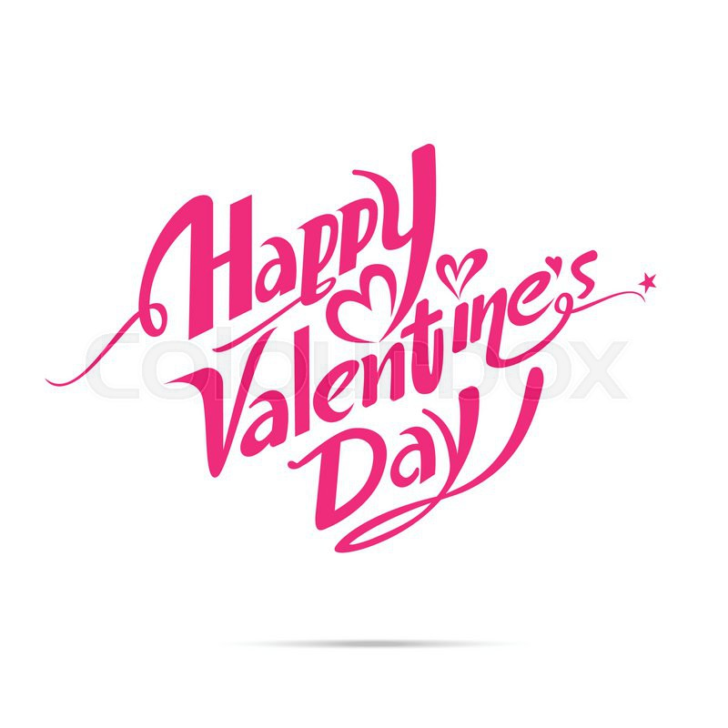 800x800 Happy Valentine Day Calligraphy Font Design For Decoration Vector