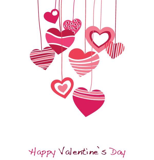 600x620 Happy Valentines Day Vector Graphic With Hanging Heart