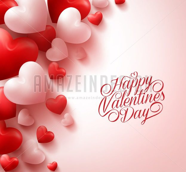 623x576 Red Hearts Happy Valentines Day Vector Background