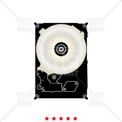 400x400 Hard Drive Disk Black Icon Vector Image Vector Artwork Of