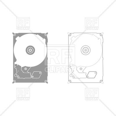 400x400 Hard Drive Disk Grey Set Icon Vector Image Vector Artwork Of