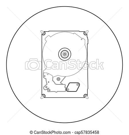 450x470 Hard Drive Disk Icon Black Color In Circle. Hard Drive Disk Icon