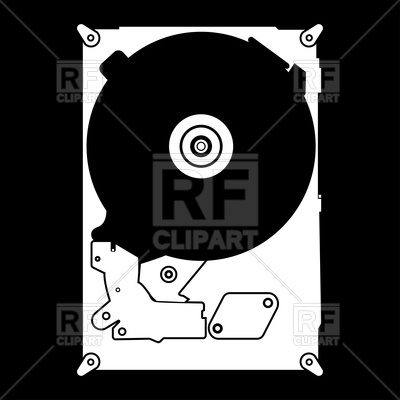 400x400 Hard Drive Disk White Color Icon Vector Image Vector Artwork Of