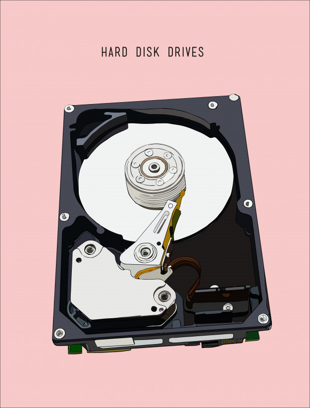 626x823 Opened Hard Disk Drive, Hand Drawn Sketch Line Art Vector. Vector