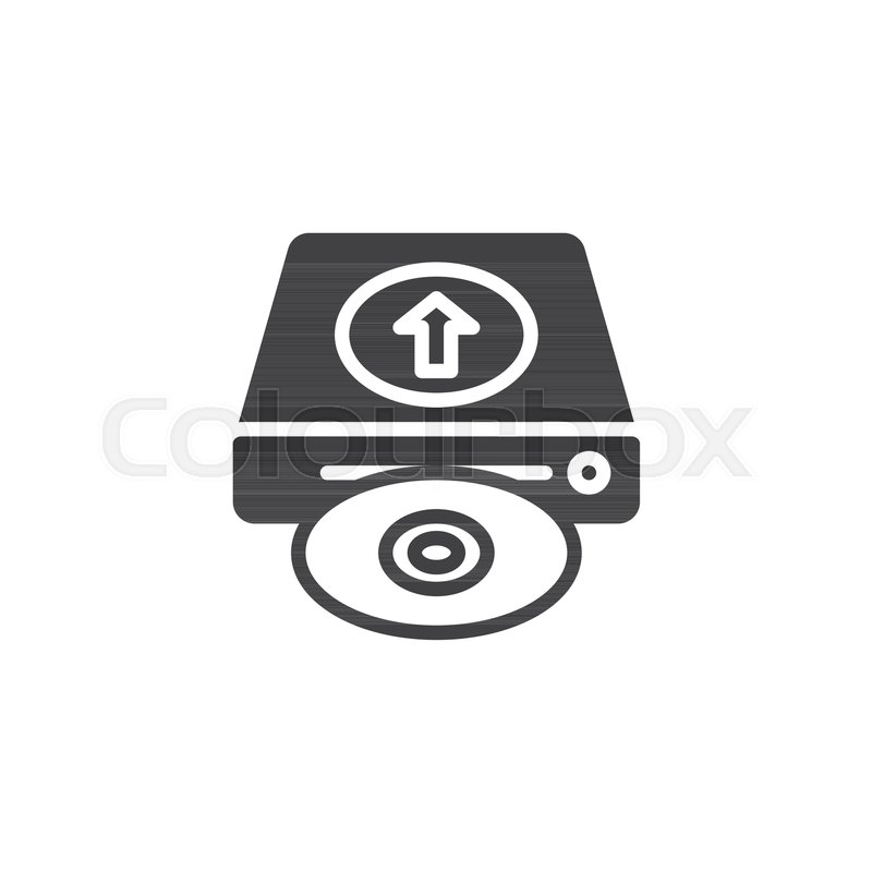 800x800 Upload Hard Drive Disk Icon Vector, Filled Flat Sign, Solid