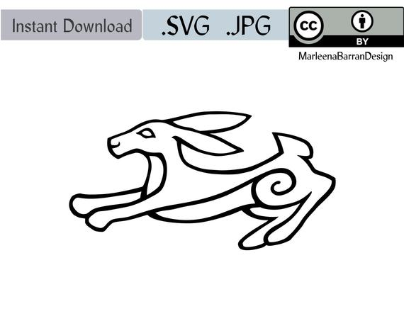 570x453 Running Hare Vector Graphic File Royalty Free Creative Etsy