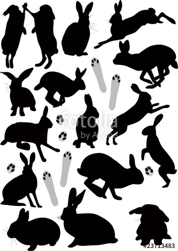 354x500 Vector Silhouettes Of Hares A Symbol Of 2011 Stock Image And