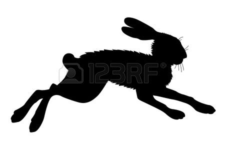450x292 Hare Silhouette On White Background, Vector Illustration Stock