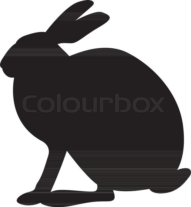 738x800 Hare Vector Illustration Black Silhouette Profile Side Stock