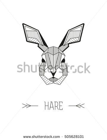 360x470 Geometric Animal Head. Hare. Vector Minimalistic Linework