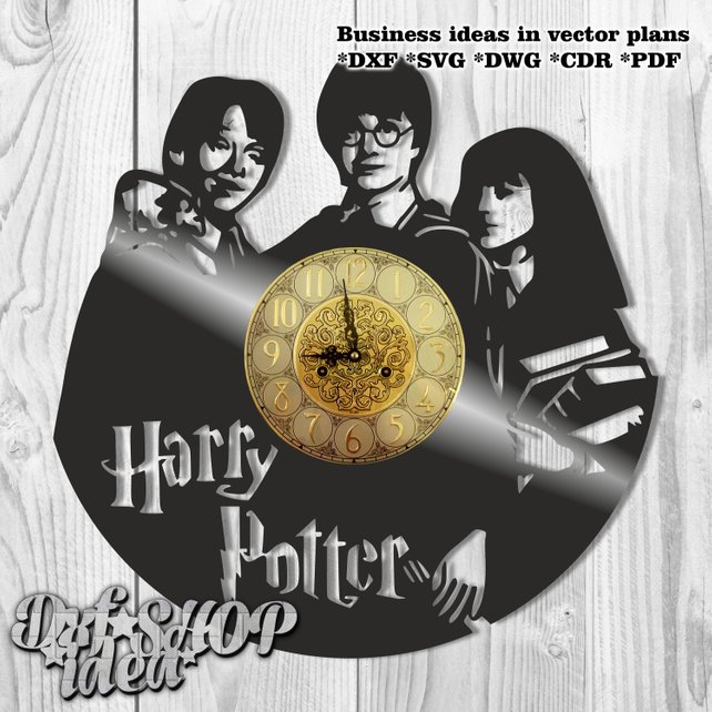 642x642 Dxf Clock Plans Watches Harry Potter Wooden Plasma Waterjet Etsy