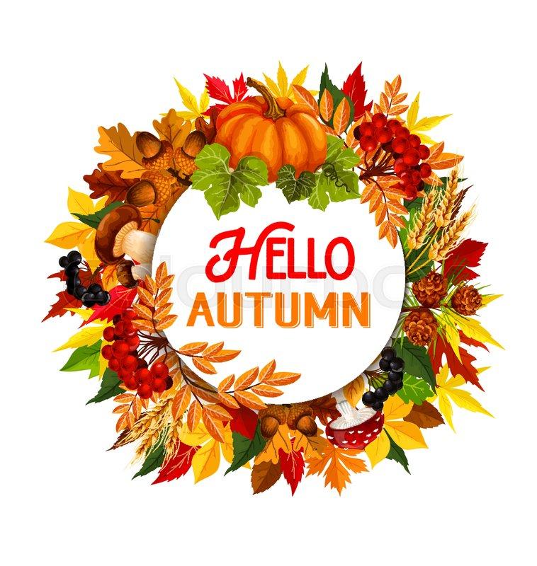 758x800 Hello Autumn Poster Of Fall Foliage, Maple Leaf Or Oak Acorn And