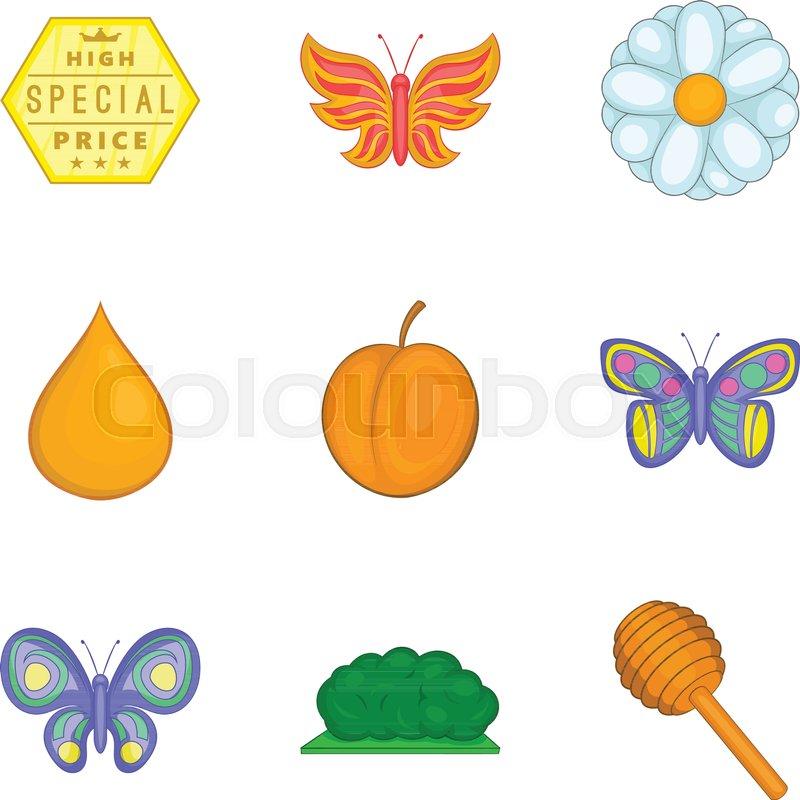 800x800 Honey Harvest Icons Set. Cartoon Set Of 9 Honey Harvest Vector