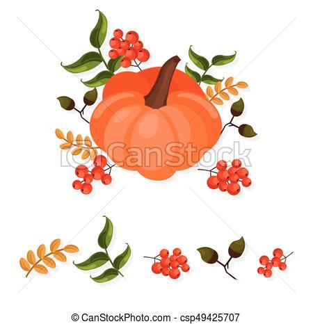450x466 Pumpkin Decor Autumn Harvest Vector Illustration Card Festivals.