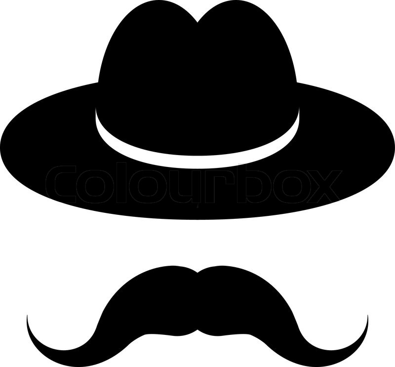 800x743 Black Hat With Mustache Isolated On A White Background Stock