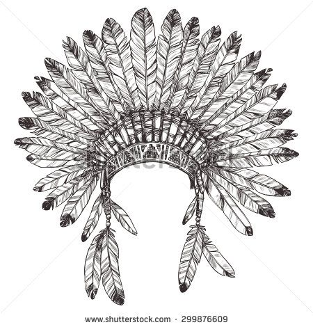 450x470 Hand Drawn Native American Indian Headdress. Vector Monochrome