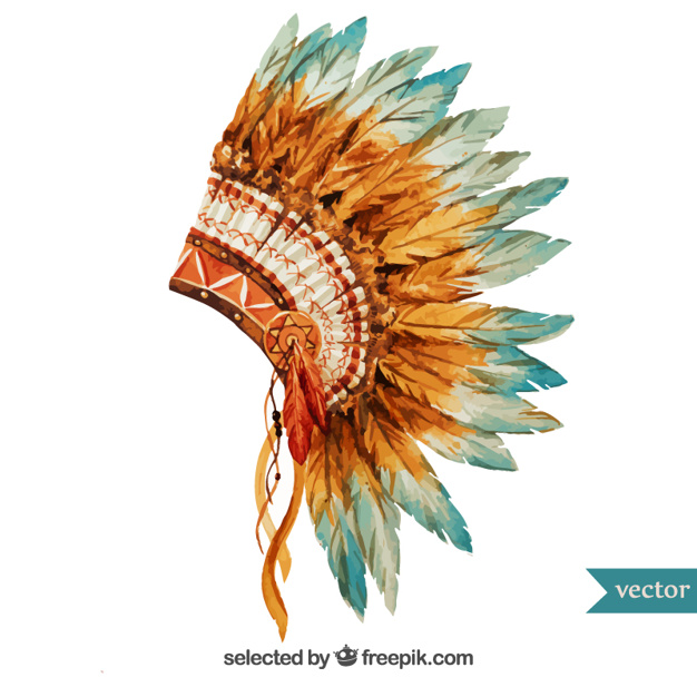 626x626 Hand Painted Indian Headdress Vector Free Download