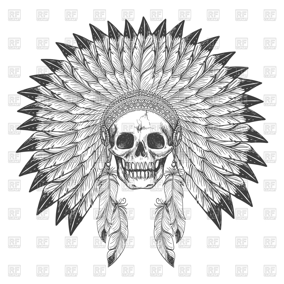 1200x1200 Native American Indian Apache Skull With Feather Headdress Vector