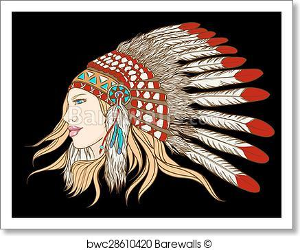437x364 Art Print Of Young Pretty Girl In Indian Chief Headdress. Vector