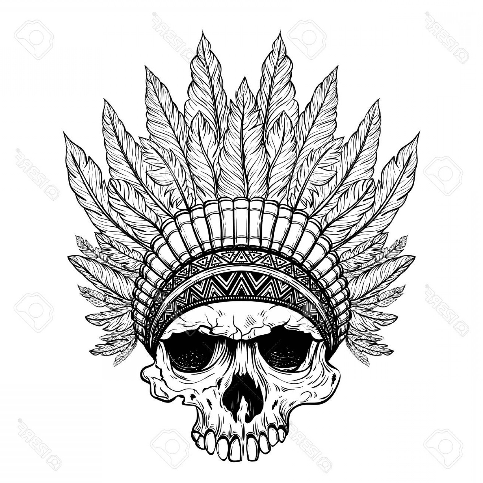 1560x1560 Photostock Vector Hand Drawn Native American Indian Headdress With