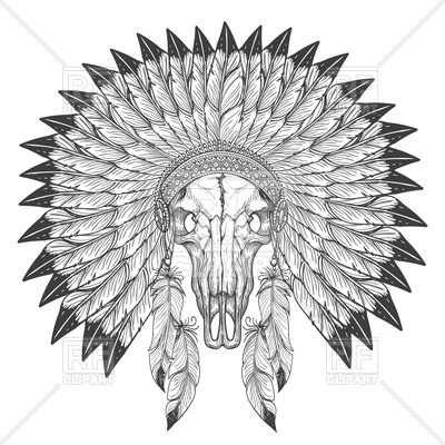 400x400 Buffalo Skull Sketch With Indian Feather Headdress Vector Image