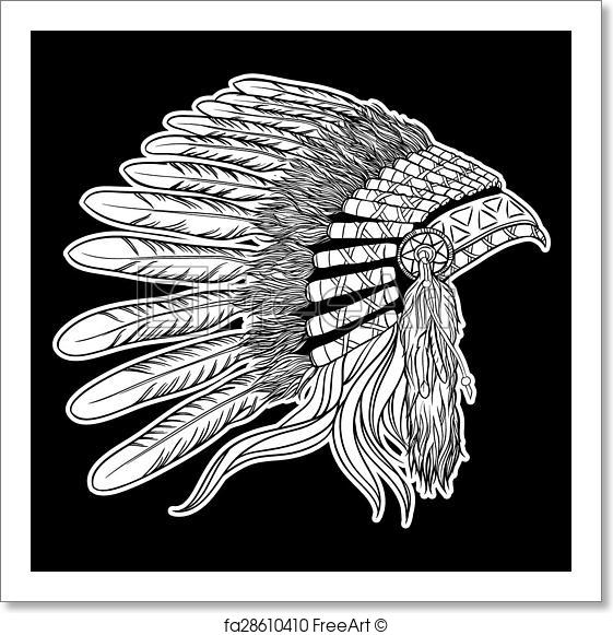 561x581 Free Art Print Of Native American Indian Chief Headdress. Vector