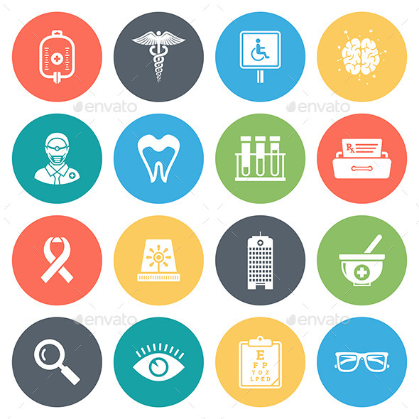 590x590 Healthcare, Medicine Round Vector Icons By Denkcreative Graphicriver