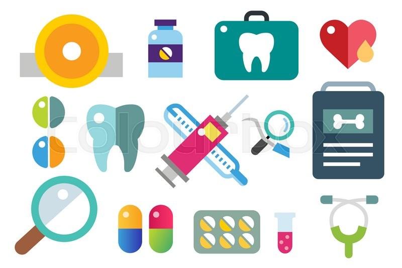 800x533 Medicine Vector Icons Set. Doctors Tools For Health Care. Medic