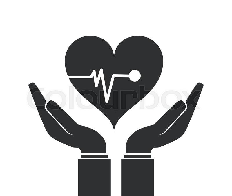 800x677 Flat Design Shelter Hand Health Icon Vector Illustration Stock