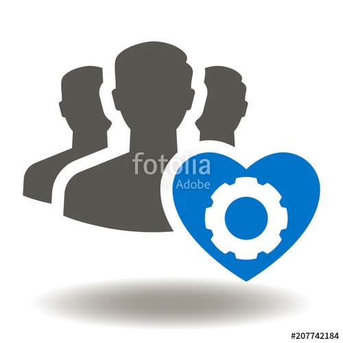 500x500 People Heart Gear Icon Vector. Work Safety Illustration