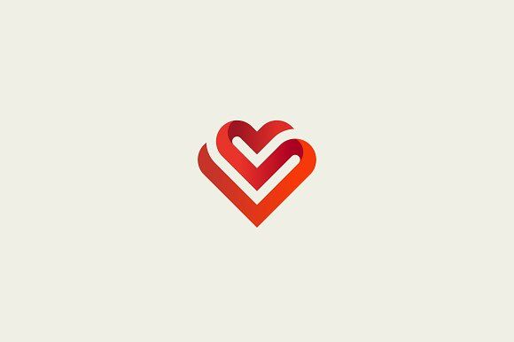 580x386 Heart Vector Symbol. Valentines Day Ribbon Logotype. Abstract Line