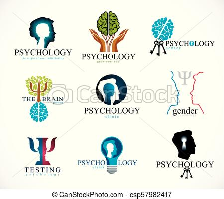 450x400 Psychology, Brain And Mental Health Vector Conceptual Icons Or