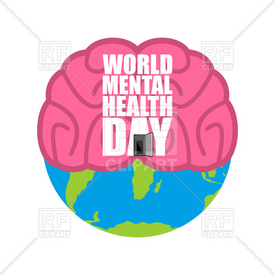 400x400 World Mental Health Day. Brain And Earth. Vector Image Vector