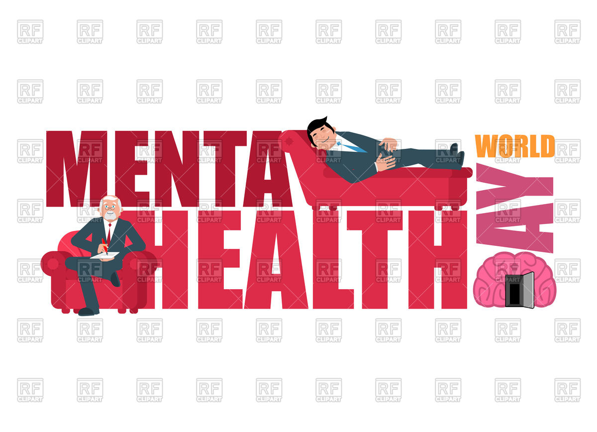 1200x868 World Mental Health Day. Lettering And Psychologist. Vector Image