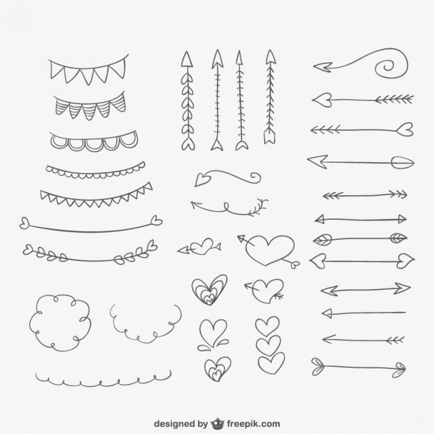 626x626 Hand Drawn Ornaments, Hearts And Arrows Vector Free Download