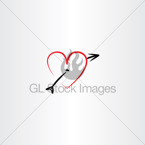 500x500 Heart Pierced With Arrow Vector Icon Gl Stock Images