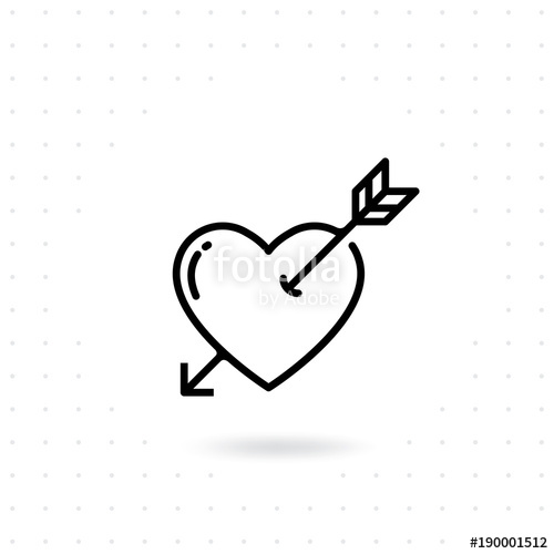 500x500 Heart With Arrow Icon. Valentines Day Vector Line Icon , Cupid