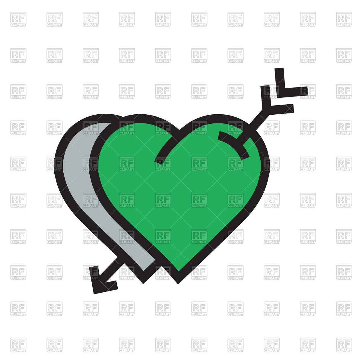 1200x1200 Icon Of Green Hearts With Arrow Vector Image Vector Artwork Of