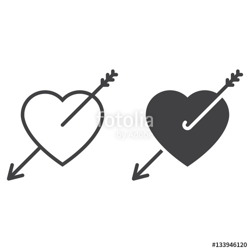 500x500 Love, Heart With Arrow Line Icon, Outline And Filled Vector Sign