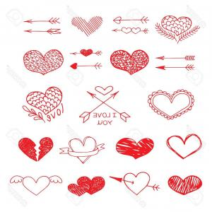 300x300 Photostock Vector Love Red Heart And Arrow Vector Sketch Set Love