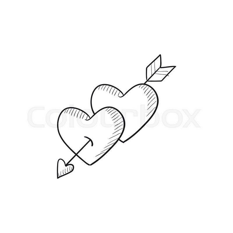 800x800 Two Hearts Pierced With Arrow Vector Sketch Icon Isolated On