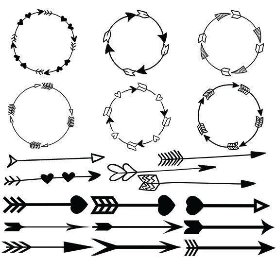 570x570 Arrow Svg Clipart Circle Arrow Vector Heart Arrow Digital Etsy