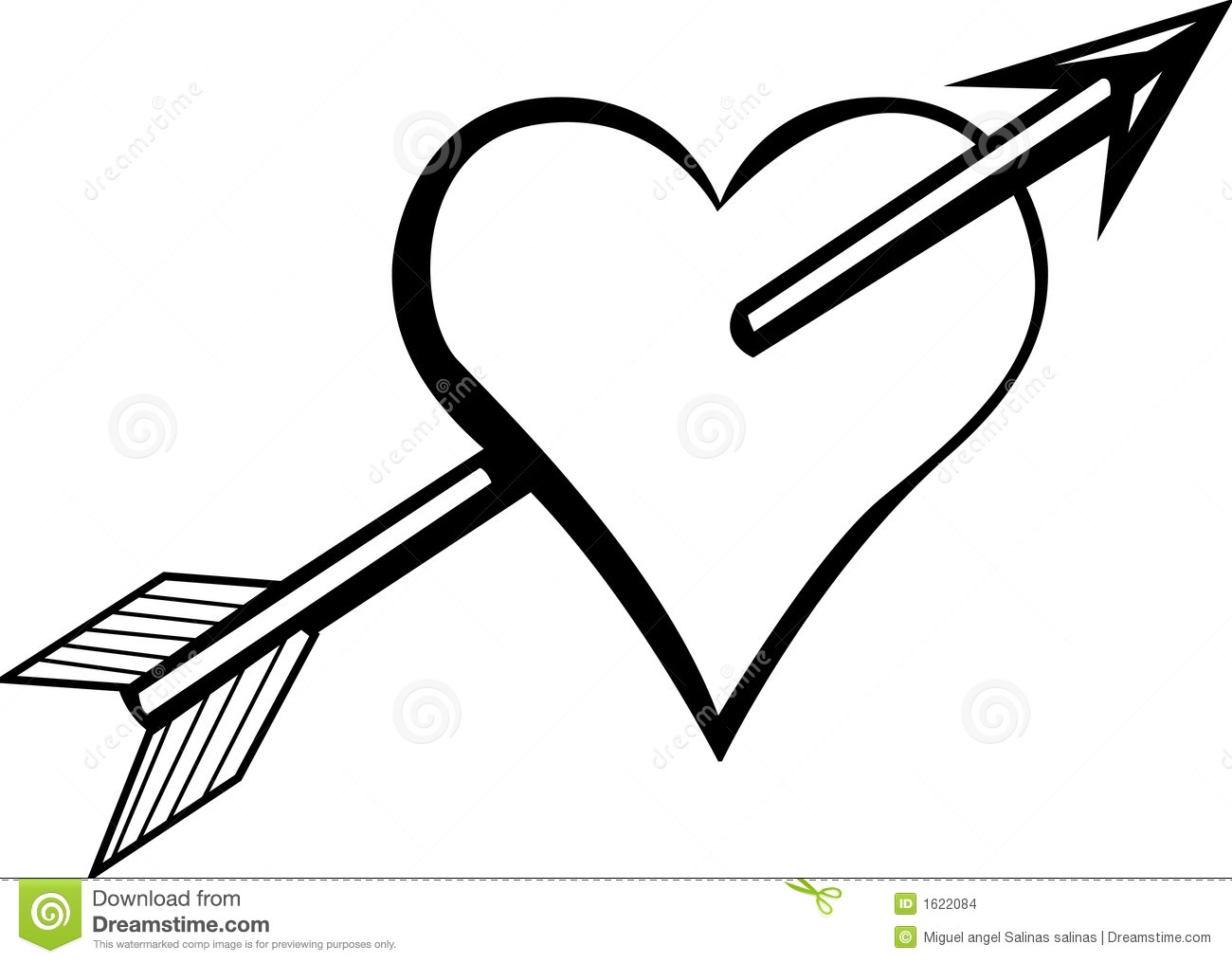 1300x1016 Black And White Heart Arrow Clipart