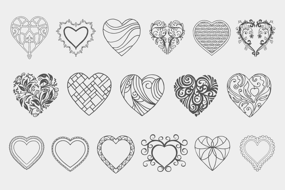 1160x774 Decorative Heart Vectors Volume 1 Design Panoply