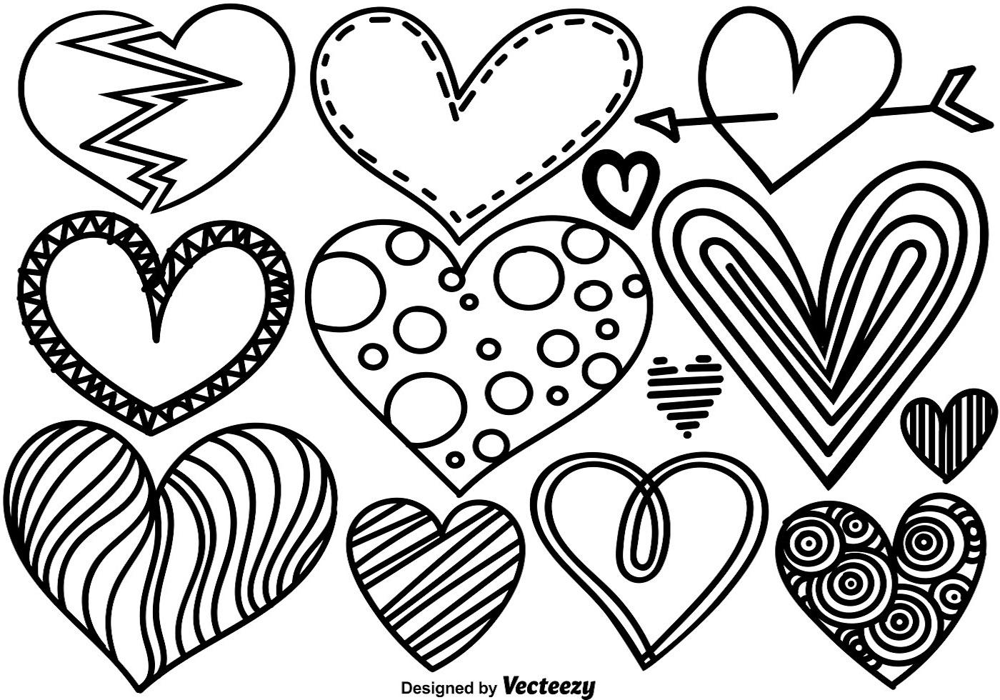 1400x980 Heart Doodle Free Vector Art