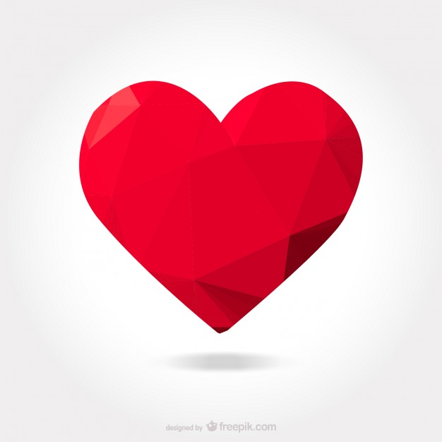 626x626 Polygonal Red Heart Vector Free Download