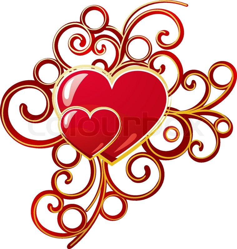 759x800 Red Valentine Heart In Floral Style For Design Stock Vector